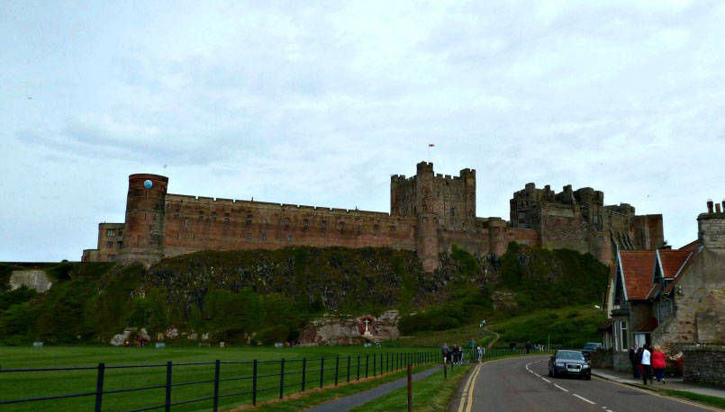Bambrough Castle from the road approaching it