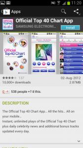 Samsung Official Top 40 Chart App