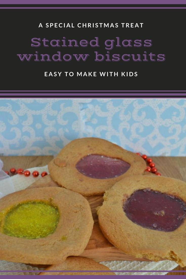 Stained glass window biscuits. These cookies are great to make with kids for a Christmas treat