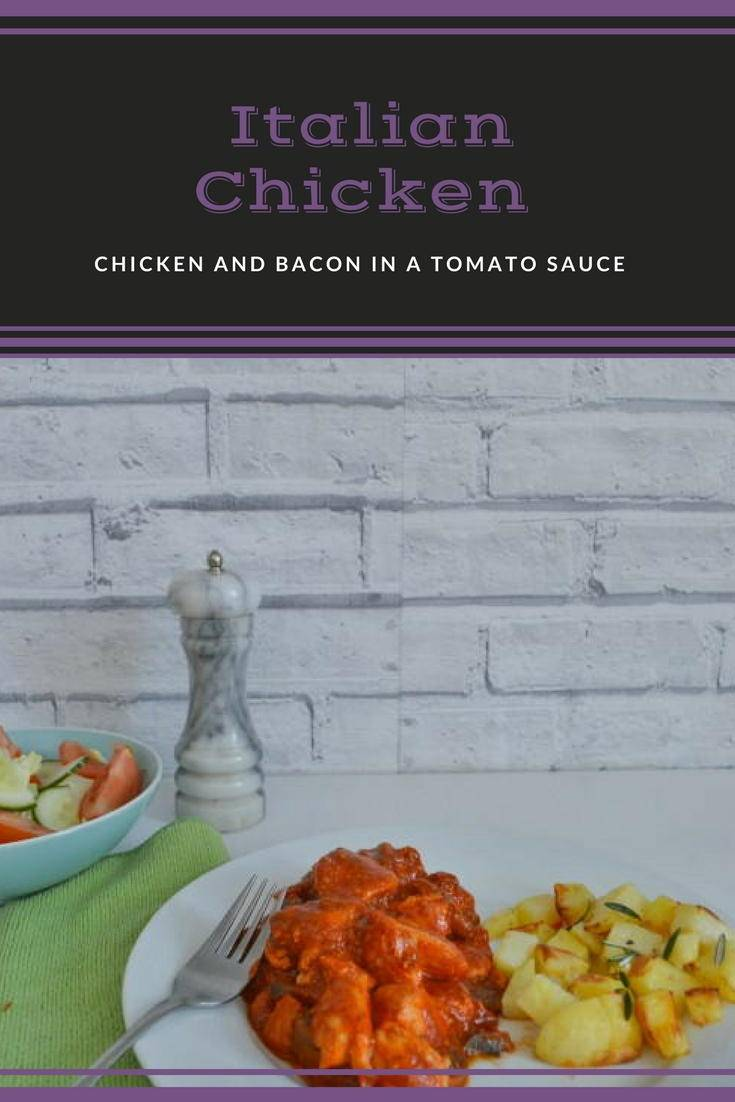 Italian chicken recipe. A quick and easy midweek meal. Chicken and bacon in a tomato sauce makes a meal all the family will love. Click though to get the recipe