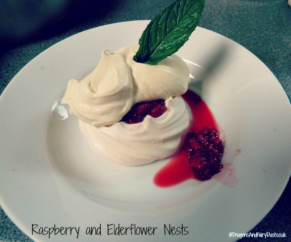 Raspberry and elderflower nests
