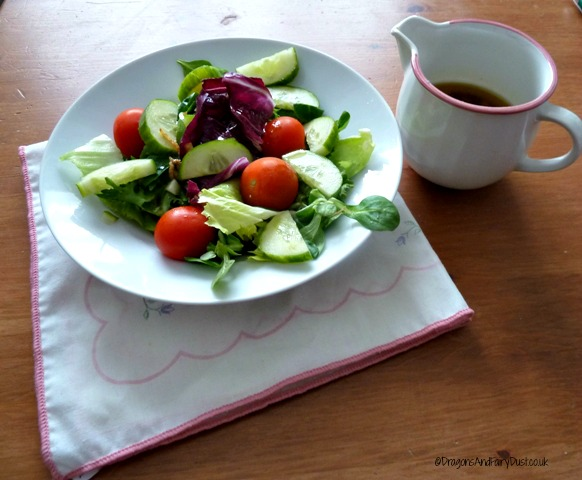 Salad with soy sauce dressing