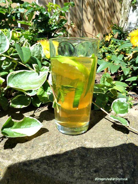 Apple Cucumber Elderflower and mint cocktail