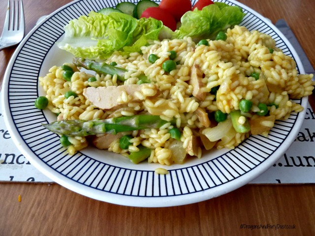 Chicken, pea and asparagus risotto