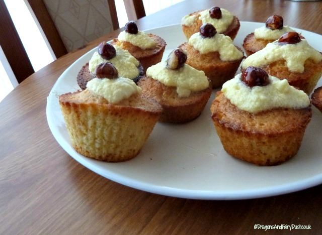 Honey Cupcakes with Kentish Cobnuts - Dragons and Fairy Dust