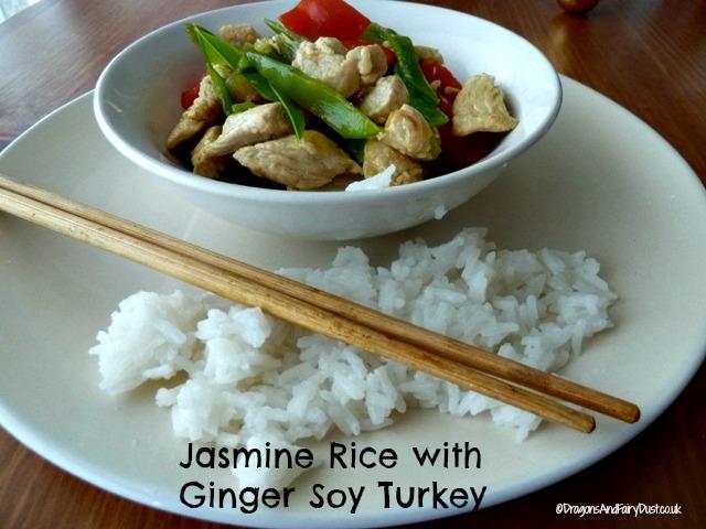 Jasmine rice with ginger soy turkey
