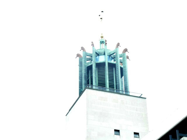 Seahorses on top of the civic centre