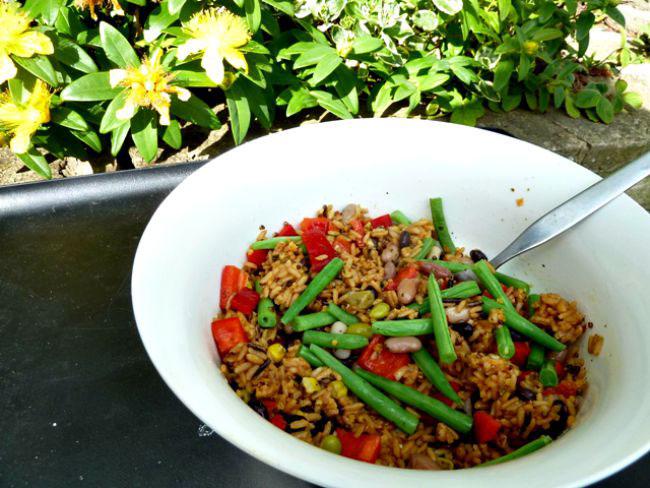 whole grain and bean salad