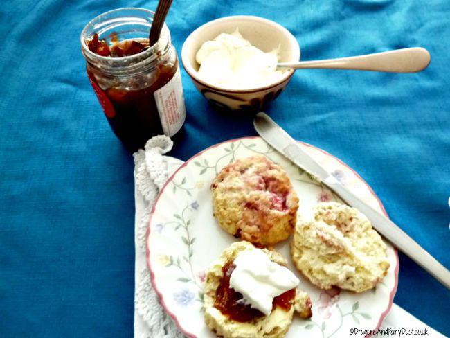 Raspberry and pecan scones
