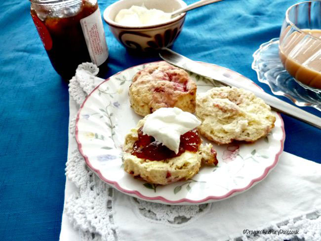 Raspberry and pecan scones