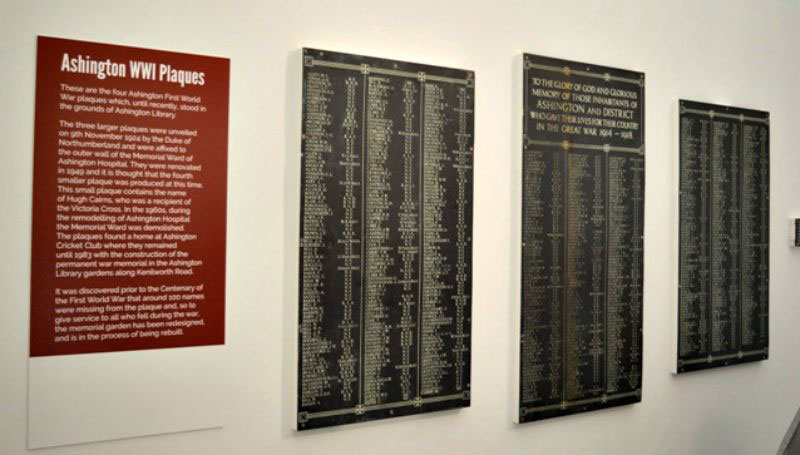 Ashington world war plaques