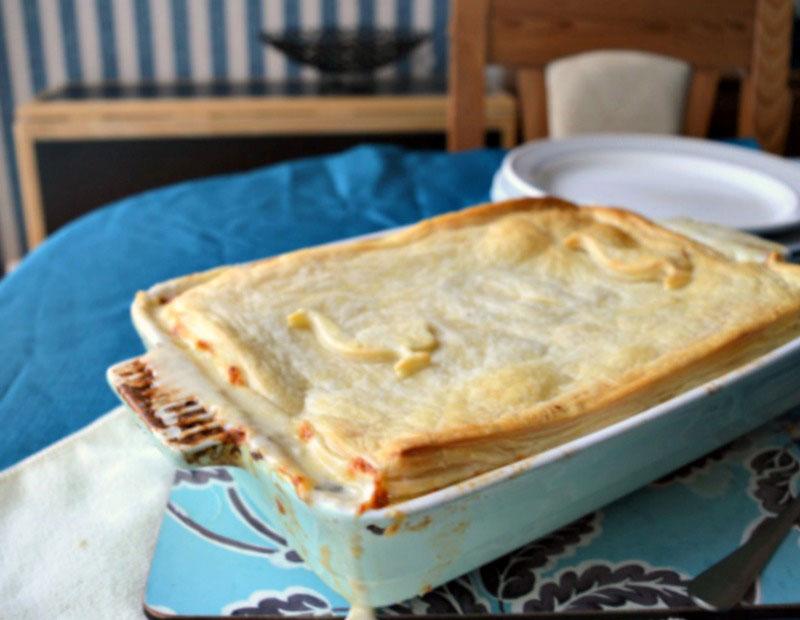John Torode's My My Chicken Pie in a dish