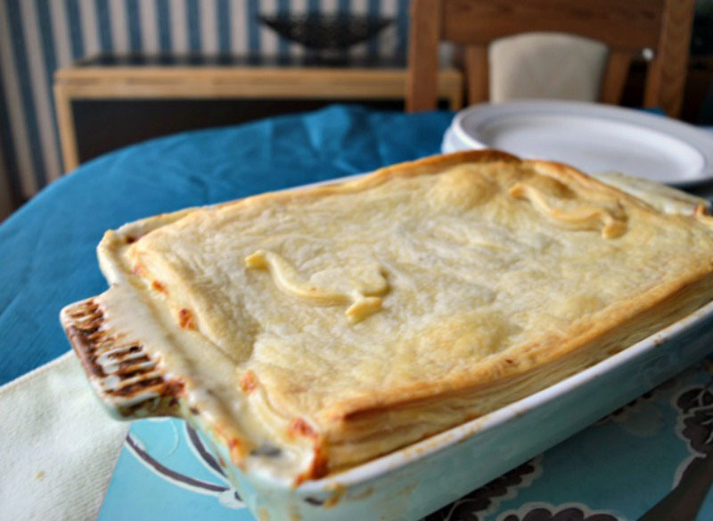 Chicken Pie in a dish on the table