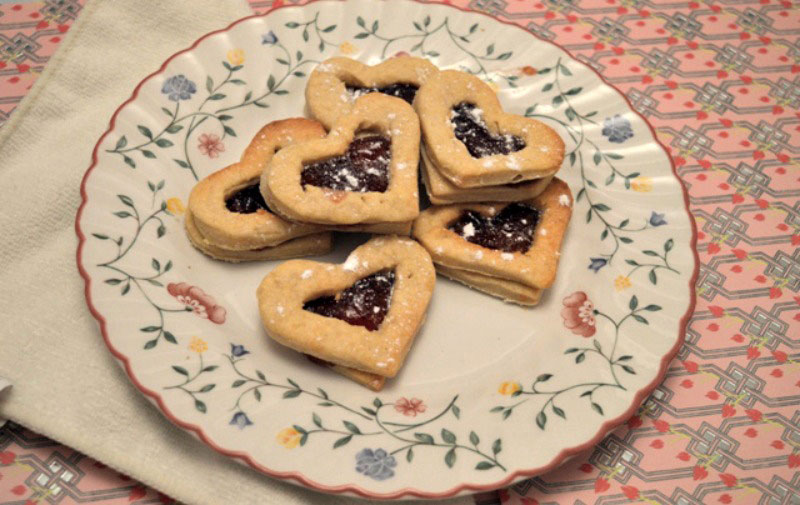 Queen of hearts tarts - heart shaped jam tarts on a plate