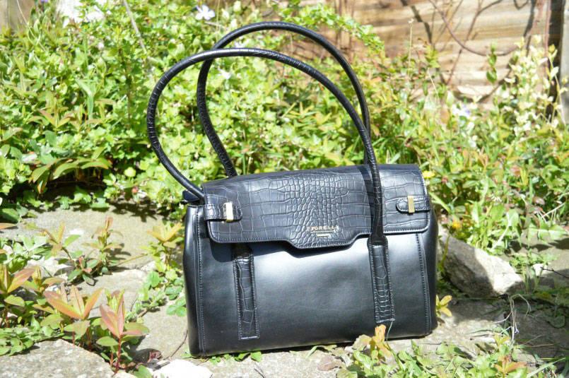 Fiorelli Deacon medium black flap over tote bag