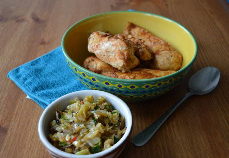 Garlic lemon chicken with celery salsa