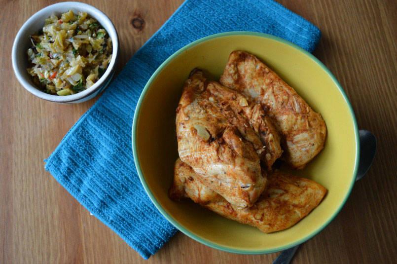 Garlic lemon chicken served with celery salsa