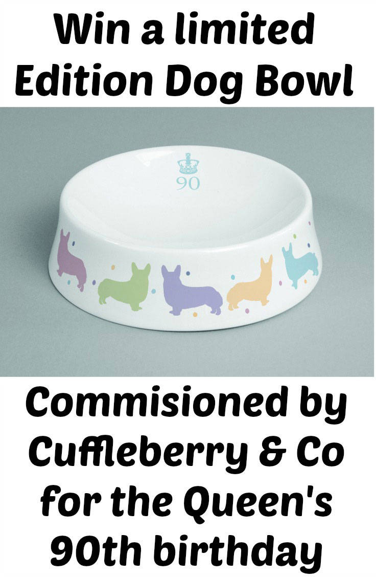 Com,misioned by Cuffleberry & Co gourmet dog food for the Queen's 90th birthday. All bowls sold will raise money for All Dogs Matter. Only 90 will be produced. Ends 6th May 2016