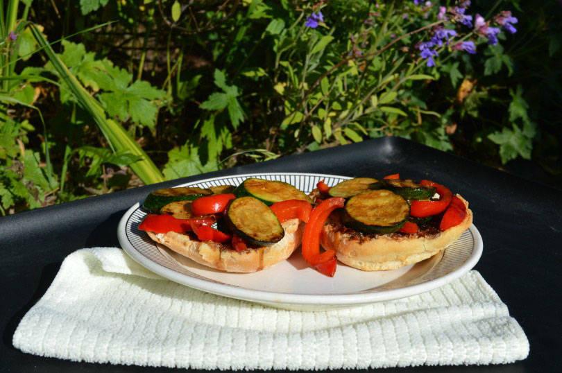 courgette and pepper bruschetta