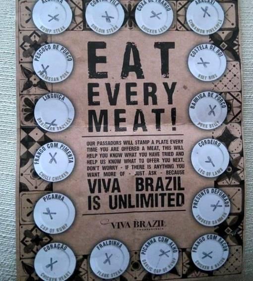 ordering meat at Viva Brazil