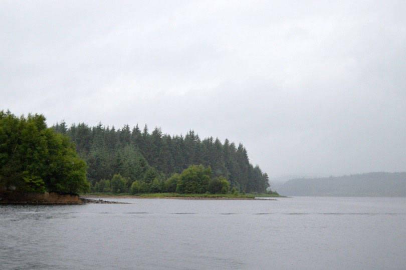 Kielder water from motorboat