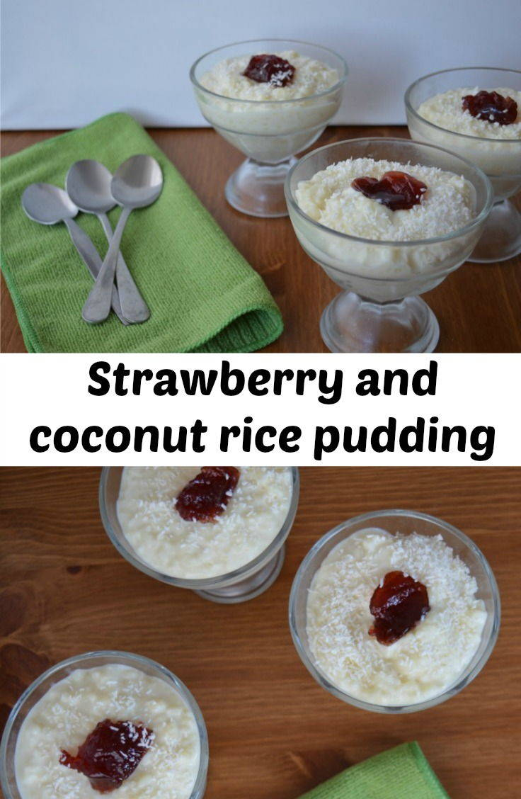 strawberry and coconut rice pudding