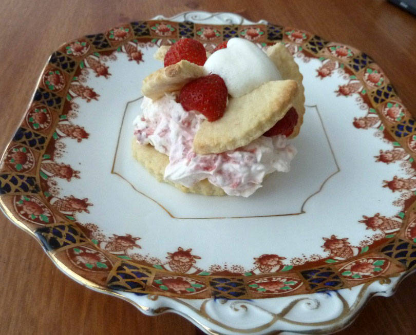 Strawberry shortcake on a plate