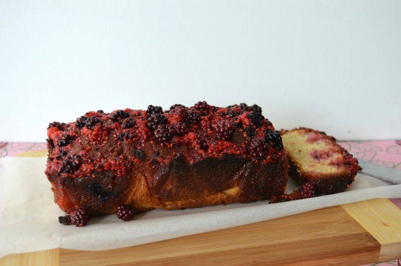 Raspberry and blackberry drizzle cake