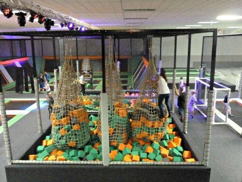 Net crawl and battle beam at Jump 360. trampoline park