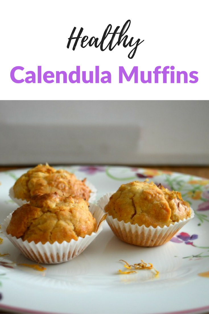 Heaslthy calendula muffins are a lovely savoury muffin. Make with calendula or marigold flowers they add a touch of sunshine to an Autumn day. Perfect served with soup or stew