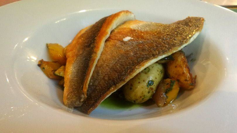 Pan-seared sea bass at Kingslodge inn