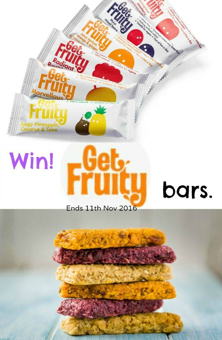 Win a box of 25 Get Fruity Bars. A natural and tasty fruit snack ideal for lunchboxes. Giveaway