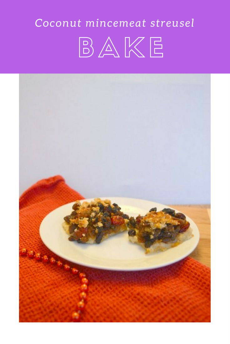 Coconut mincemeat streusel bake. A lovely alternative to mince pies this Christmas.