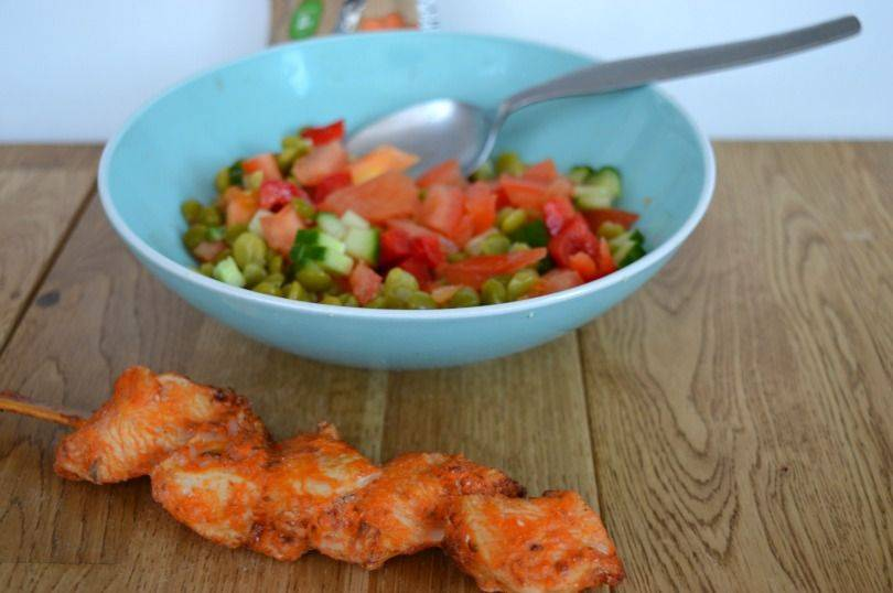 Grabits Chicken Snacks and Green Lentil Salad