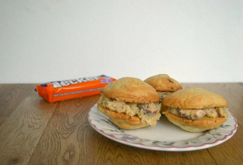 Double decker cookie sandwiches. A chocolate chip cookie with a frosting filling made with double deckers