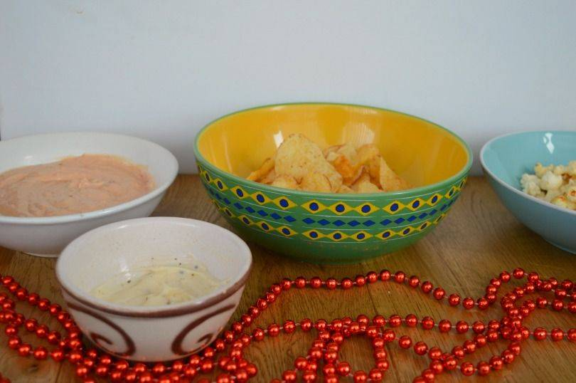 Party dips and snacks with Tyrells crisps and popcorn