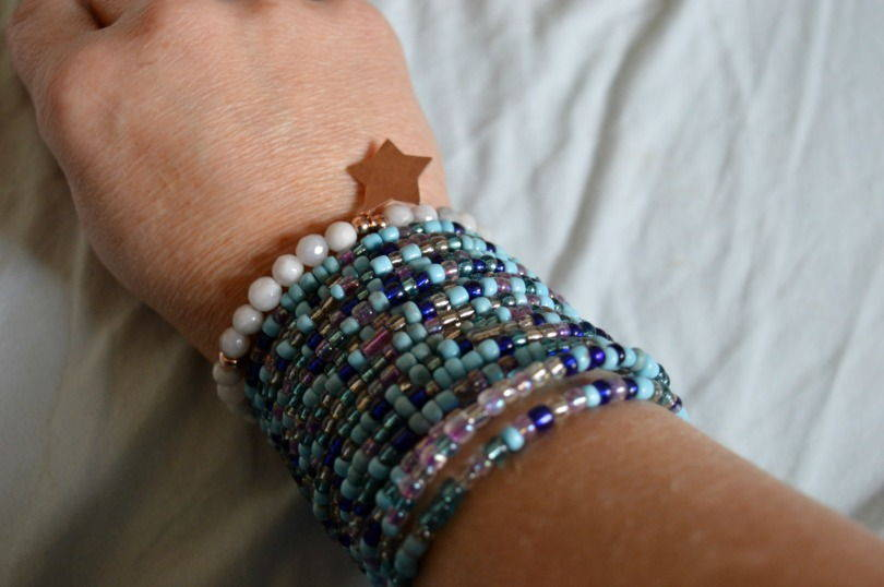 ChloBo grey agate star braclet styled with a stacked blue beaded bangle