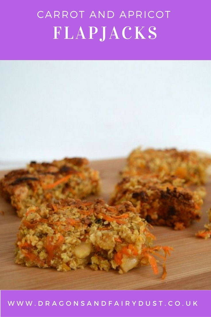 Carrot and apricot flapjacks. A delicious and healthy treat to keep you full till lunch.
