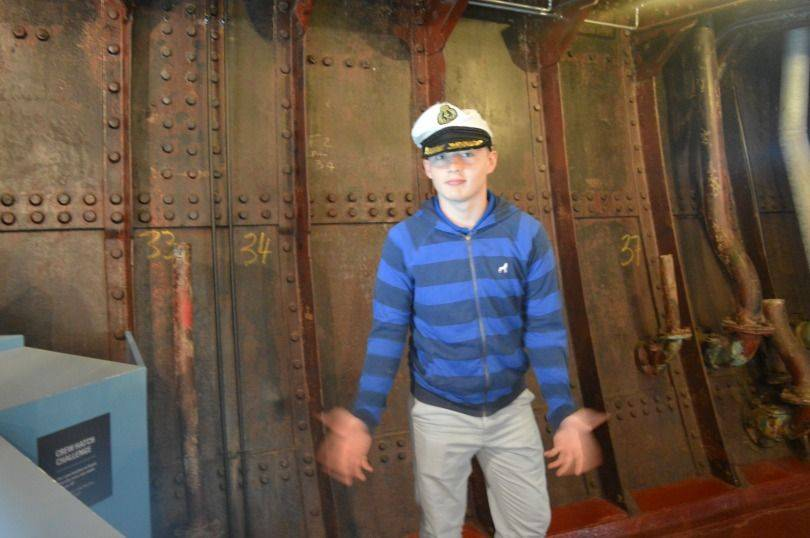 Dressing up as a sailor on the SS Nomadic