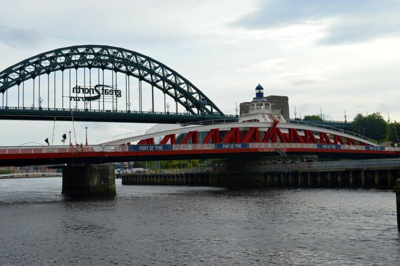 View of Newcastle Upon Tyne swing bridge and tyne bridge