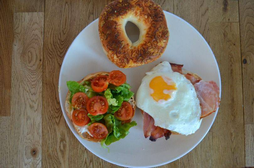 Bacon egg lettuce and tomato bagel