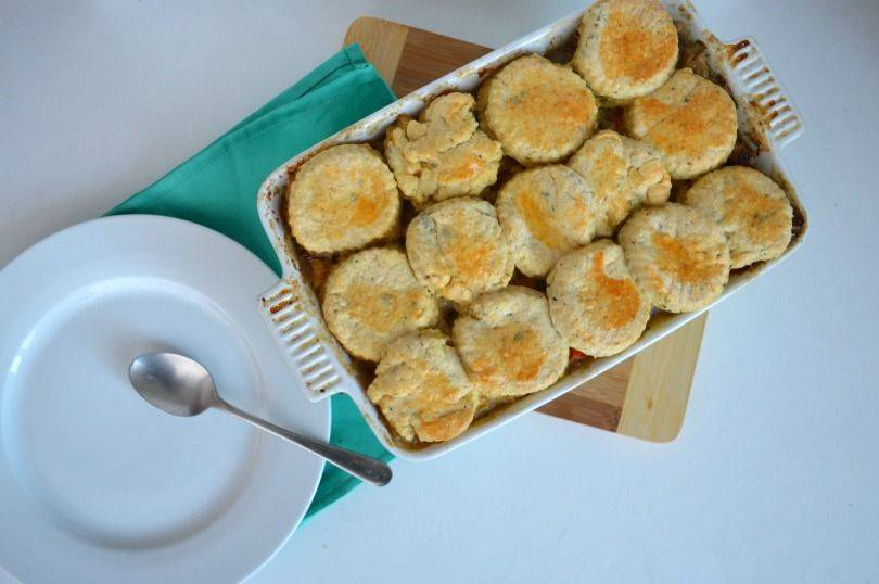 Leek and lamb cobbler