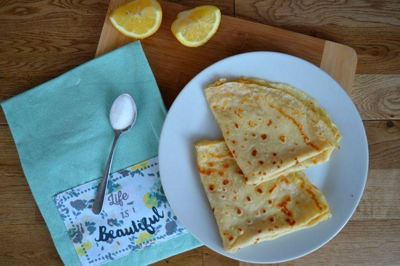 English Pancakes with Lemon and Sugar