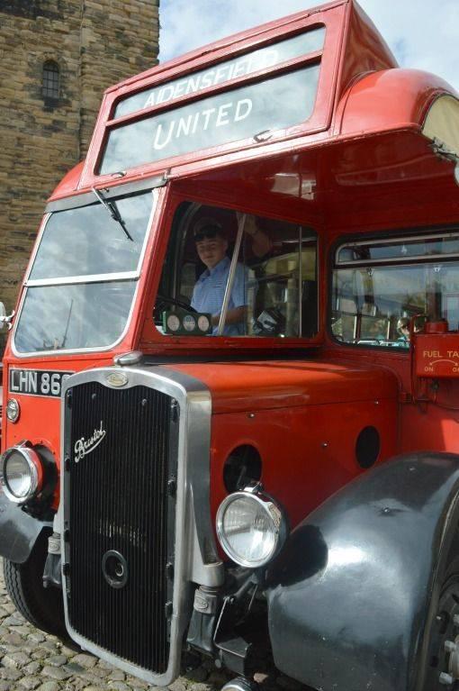 sitting inside a vintage bus