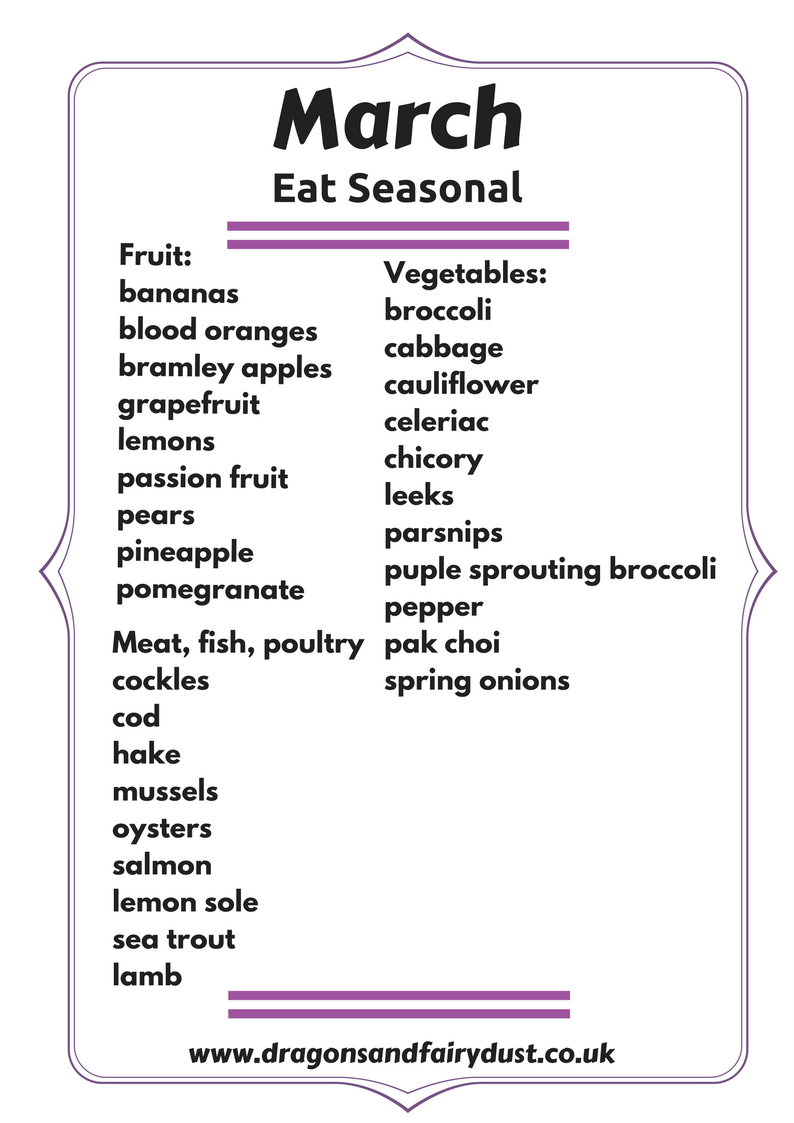 Eat Seasonal - March. A list of the fruit, vegetables, meat and fish that is in season in March