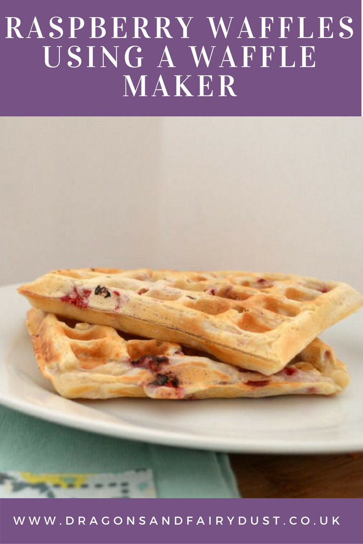 Raspberry waffles make with a waffle maker. Makes a delicious and tasty breakfast