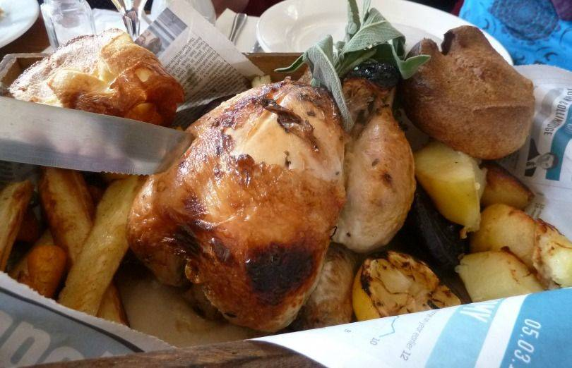 chicken sunday lunch at revolution Newcastle