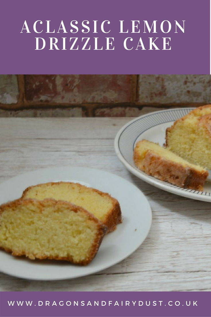 Classic lemon drizzle cake. Soft sponge with a lemon glaze drizzled over the top.