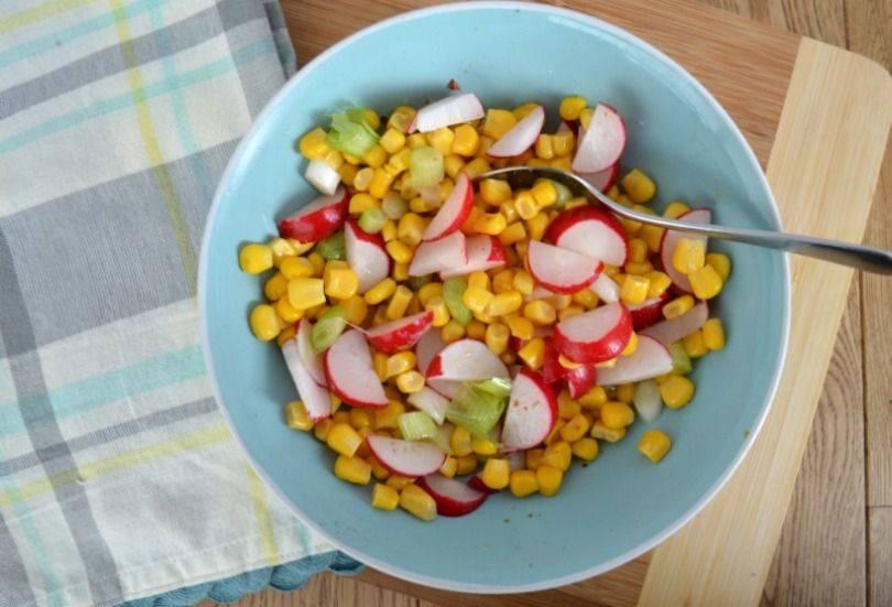 radish and sweetcorn salad