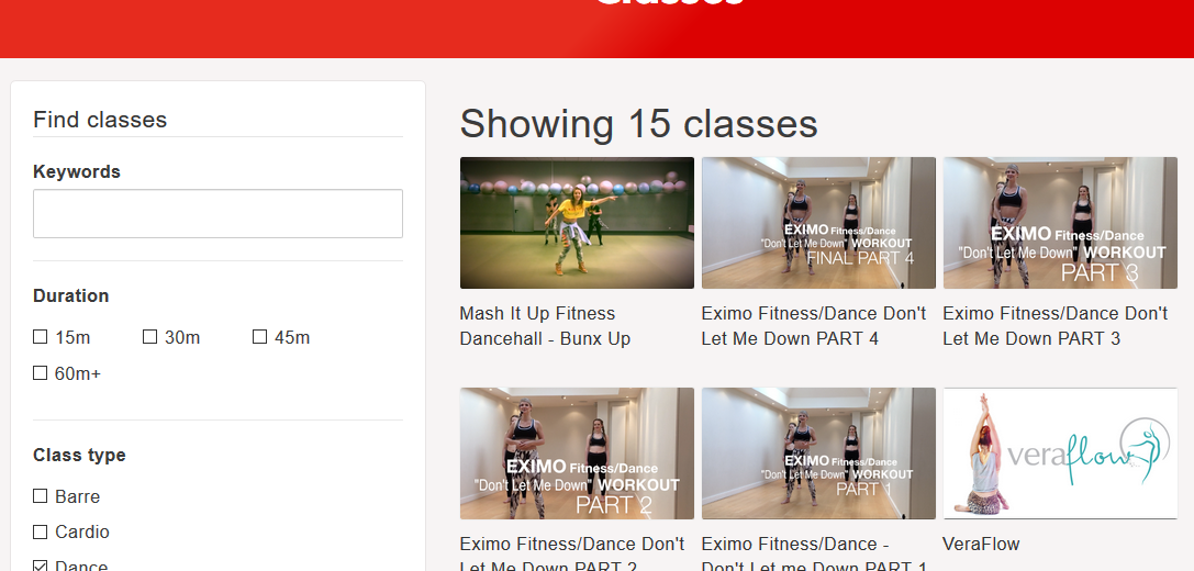 Flex TV exercise classes